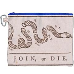 Original Design, Join Or Die, Benjamin Franklin Political Cartoon Canvas Cosmetic Bag (xxxl) by thearts