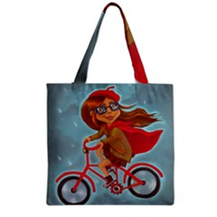 Girl On A Bike Grocery Tote Bag by chipolinka