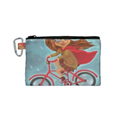 Girl On A Bike Canvas Cosmetic Bag (small) by chipolinka