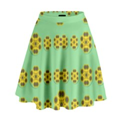 Sun Flowers For The Soul At Peace High Waist Skirt by pepitasart