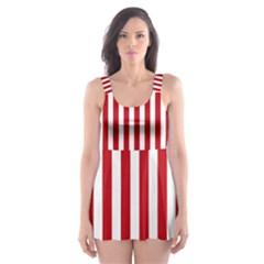 Red Stripes Skater Dress Swimsuit by jumpercat