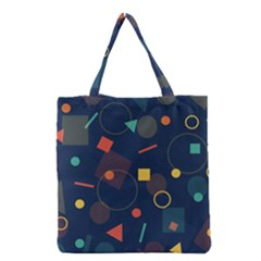 Blue Background Backdrop Geometric Grocery Tote Bag