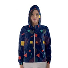 Blue Background Backdrop Geometric Hooded Wind Breaker (women)