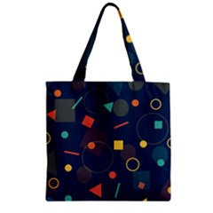 Blue Background Backdrop Geometric Zipper Grocery Tote Bag