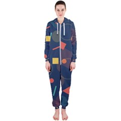 Blue Background Backdrop Geometric Hooded Jumpsuit (ladies)