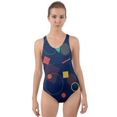 Blue Background Backdrop Geometric Cut Out Back One Piece Swimsuit