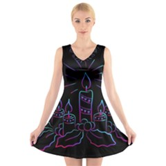 Advent Wreath Candles Advent V Neck Sleeveless Skater Dress