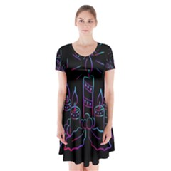 Advent Wreath Candles Advent Short Sleeve V Neck Flare Dress
