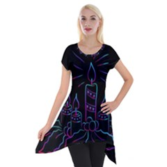 Advent Wreath Candles Advent Short Sleeve Side Drop Tunic by Nexatart