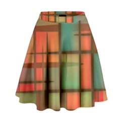 Background Abstract Colorful High Waist Skirt