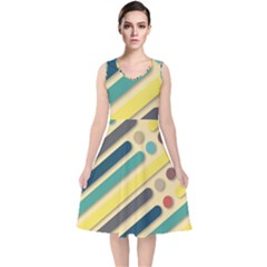 Background Vintage Desktop Color V Neck Midi Sleeveless Dress