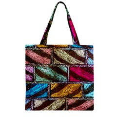 Colorful Painted Bricks Street Art Kits Art Zipper Grocery Tote Bag by Costasonlineshop