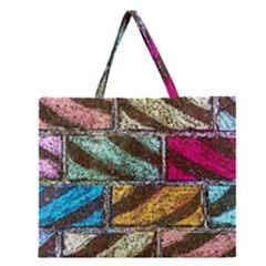 Colorful Painted Bricks Street Art Kits Art Zipper Large Tote Bag by Costasonlineshop