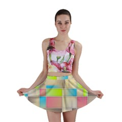 Background Abstract Grid Mini Skirt