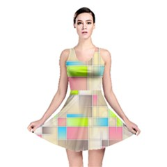 Background Abstract Grid Reversible Skater Dress