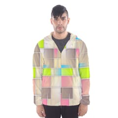 Background Abstract Grid Hooded Wind Breaker (men)