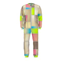 Background Abstract Grid Onepiece Jumpsuit (kids)