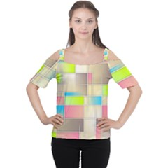 Background Abstract Grid Cutout Shoulder Tee
