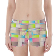 Background Abstract Grid Boyleg Bikini Wrap Bottoms
