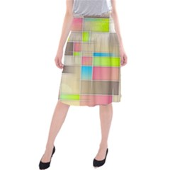 Background Abstract Grid Midi Beach Skirt