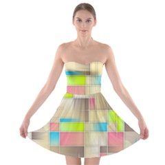 Background Abstract Grid Strapless Bra Top Dress