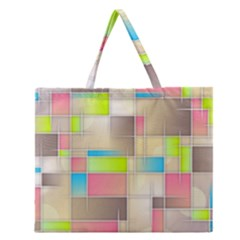 Background Abstract Grid Zipper Large Tote Bag