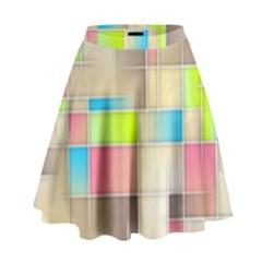 Background Abstract Grid High Waist Skirt by Nexatart
