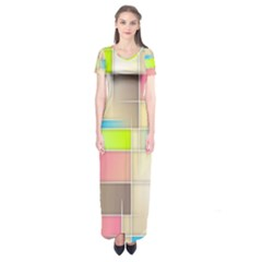 Background Abstract Grid Short Sleeve Maxi Dress