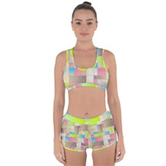 Background Abstract Grid Racerback Boyleg Bikini Set
