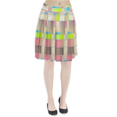 Background Abstract Grid Pleated Skirt