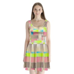 Background Abstract Grid Split Back Mini Dress