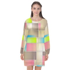 Background Abstract Grid Long Sleeve Chiffon Shift Dress