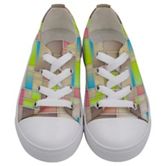 Background Abstract Grid Kids  Low Top Canvas Sneakers