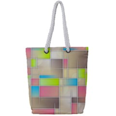 Background Abstract Grid Full Print Rope Handle Tote (small)