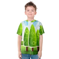 Landscape Nature Background Kids  Cotton Tee