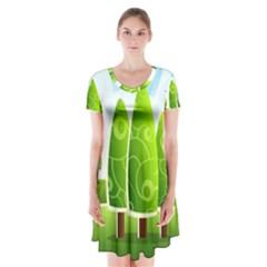 Landscape Nature Background Short Sleeve V Neck Flare Dress