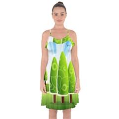 Landscape Nature Background Ruffle Detail Chiffon Dress