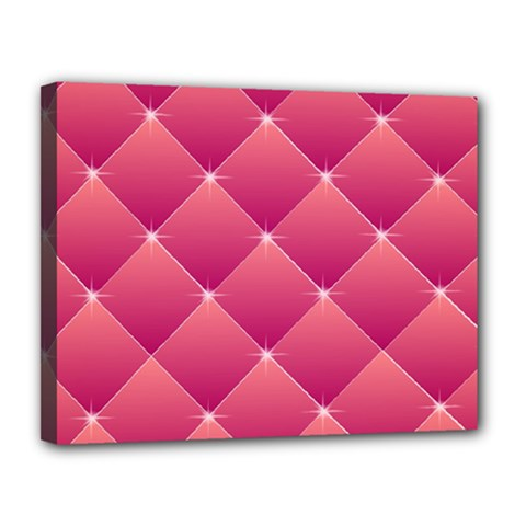Pink Background Geometric Design Canvas 14  X 11  by Nexatart