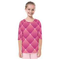 Pink Background Geometric Design Kids  Quarter Sleeve Raglan Tee