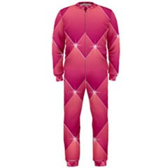 Pink Background Geometric Design Onepiece Jumpsuit (men)