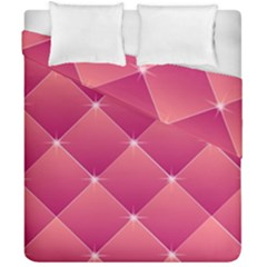 Pink Background Geometric Design Duvet Cover Double Side (california King Size) by Nexatart
