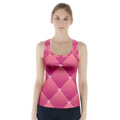 Pink Background Geometric Design Racer Back Sports Top