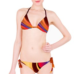 Abstract Colorful Background Wavy Bikini Set