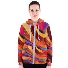 Abstract Colorful Background Wavy Women s Zipper Hoodie
