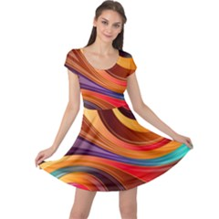 Abstract Colorful Background Wavy Cap Sleeve Dress