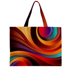 Abstract Colorful Background Wavy Zipper Mini Tote Bag