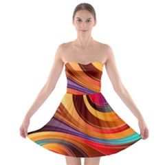 Abstract Colorful Background Wavy Strapless Bra Top Dress