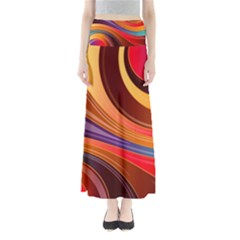 Abstract Colorful Background Wavy Full Length Maxi Skirt