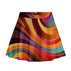 Abstract Colorful Background Wavy Mini Flare Skirt