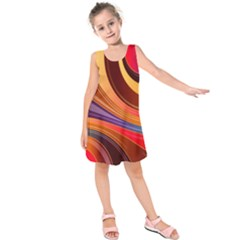 Abstract Colorful Background Wavy Kids  Sleeveless Dress